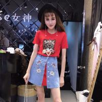 夏季新款韩版打底皇冠猫咪短袖连衣裙+刺绣开衩牛仔裙两件套