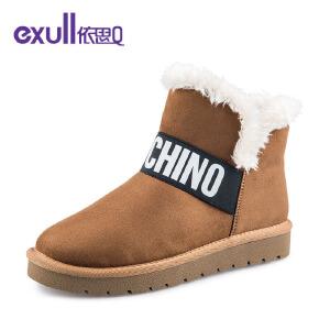 依思q冬季新款绒面保暖棉靴低跟舒适时尚潮流雪地靴
