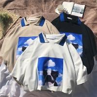 夏季新款POLO衫青少年印花宽松翻领T恤学生五分中袖有领上衣