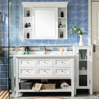卫浴美式落地式橡木浴室柜组合洗脸洗手面盆池实木洗漱台盆卫生间