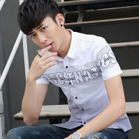 夏季新款韩版修身短袖衬衫男潮流帅气时尚百搭休闲男装衬衣潮 X