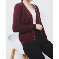 羊绒V领长袖针织外套开衫女秋季2018新款 可定制
