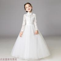 冬季女童�Y服生日公主裙�和�婚�花童中大童晚�Y服�琴演出服主持人春秋冬新款 白色