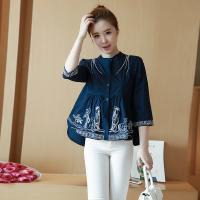 民族风刺绣白色衬衣女夏季新款 衬衫宽松休闲短款百搭上衣