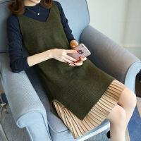 中长款V领毛衣女2018春装新款潮韩版针织衫套装时尚毛衣裙两件套 均码