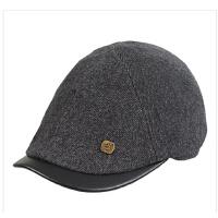 时尚韩版潮毛呢鸭嘴帽英伦帽前进帽鸭舌帽男士帽子秋冬时尚贝雷帽