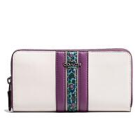 【当当自营】蔻驰(COACH)新款时尚女士皮革条纹钱包卡包手拿包 F59561
