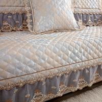 欧式沙发垫四季通用布艺防滑坐垫沙发靠背巾套罩全盖客厅 花韵 灰