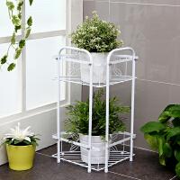 【满减】欧润哲 欧式铁艺两层花型角架 浴室房间阳台小花架几 收纳置物架