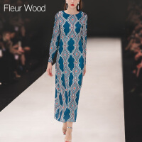 FLEUR WOOD2017秋季新款女欧美走秀款复古印花修身显瘦连衣裙长裙
