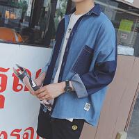 春季新款美式街头流行拼色男士工装牛仔衬衫潮流日系复古长袖衬衣