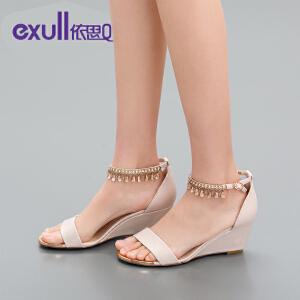 依思q高跟坡跟露趾纯色包跟流苏女凉鞋子潮-