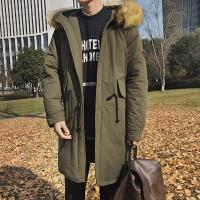 中长款大毛领连帽棉衣冬季韩版新款宽松加厚保暖袖标男士棉服袄子