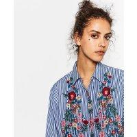 女装杂家同款新款欧美范宽松竖条纹中长款长袖衬衫7521244