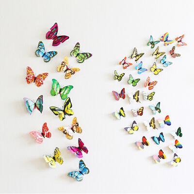 装饰蝴蝶3D蝴蝶装饰立体仿真蝴蝶贴冰箱贴磁铁蝴蝶卧室客厅背景墙 蝴蝶10只颜色随机