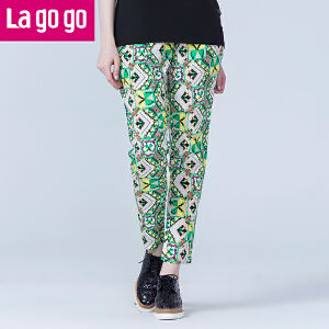 lagogo拉谷谷夏季新款韩哈伦百搭版小脚长裤