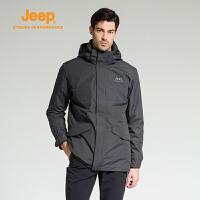 【特惠价】Jeep/吉普 男士户外防风防泼两件套中长款三合一冲锋衣J742094008
