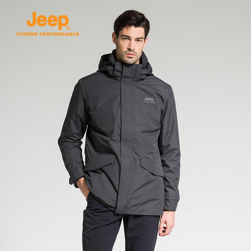 【特惠价】Jeep/吉普 男士户外防风防泼两件套中长款三合一冲锋衣J742094008 防风防水 加厚内胆 简洁精致