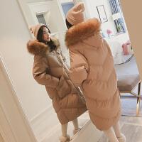 面包羽绒女中长款韩版毛领chic棉衣外套冬装新款加厚过膝棉袄 卡其色