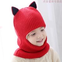 儿童帽子冬季保暖帽防风护耳加绒帽男童女童公主帽一体围巾口罩帽 均码