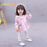 冬季2018新款春装连帽风衣0-1-2-3岁女童外套婴儿童装长袖女宝宝上衣秋冬新款 粉红色 现货