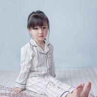 冬季欧美ins定制冬季新款亲子睡衣女纯棉长袖开衫家居服儿童女童套装秋冬新款 白色