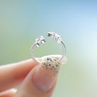S925银戒指女日韩风潮人学生公主手工开口戒时尚原创设计指环 银戒指