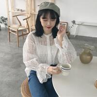 2018春装韩版宽松欧根纱喇叭袖蕾丝衫上衣吊带两件套长袖白衬衫女