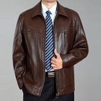 中老年人加绒加厚皮衣夹克男装装中年皮袄爸爸装男士保暖皮外套