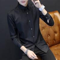 慈姑秋季青少年长袖衬衫男士韩版修身型黑色衬衣潮男装休闲商务衣服寸