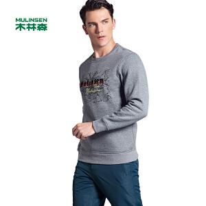 木林森男装  新款加厚男士圆领套头衫长袖T恤印花街头外穿卫衣01360901