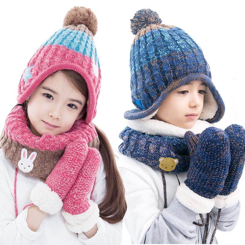 KK树新款儿童帽子围脖手套三件套保暖秋冬男童女童宝宝帽子套装潮潮妈优选 豪华三件套 加绒更保暖