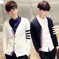薄款春季针织衫韩版V领潮男士毛衣英伦毛线衣撞色开衫小外套