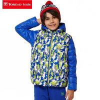 探路者童装 男女童秋冬款外套儿童印花三合一套羽绒冲锋衣潮