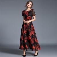 时尚连衣裙长裙女夏新款黑色短袖提花裙透视网纱拼接大摆刺绣
