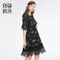 ⑩OSA欧莎2018夏装新款 优雅印花蕾丝拼接连衣裙B13018
