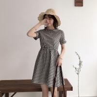 春装2018新款韩版女装小清新短袖裙子学生学院风格子连衣裙中长裙