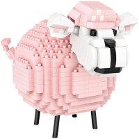 俐智loz小颗粒积木 微钻益智拼装玩具粉嫩小绵羊 女孩成年人拼图