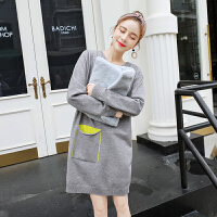 孕妇毛衣孕妇秋冬装2018新款韩版针织衫中长款套头毛衣外套潮