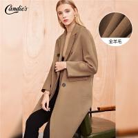 【满399减80】双面呢全羊毛大衣女冬季新款韩版宽松英伦风过膝中长呢子外套