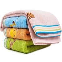 三利 纯棉卡通绣花毛巾4条装 34×74cm 柔软彩边洗脸面巾