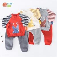 贝贝怡男童秋装套装新款宝宝保暖套头洋气卡通上衣裤子2件套193T471