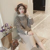 短款毛呢格子套头卫衣女装韩版2017冬季学生ulzzang宽松加厚外套 咖色