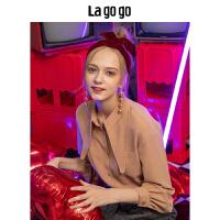 【清仓3折价137.7】Lagogo拉谷谷2018年冬季新款时尚宫廷风长袖衬衫上衣女HCCC439H17