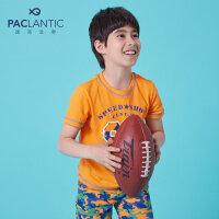 派克兰帝童装男童迷彩短袖套装夏季儿童时尚运动针织套装