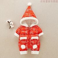 女婴儿外出抱衣冬季加绒加厚宝宝保暖连体衣新生儿圣诞节衣服哈衣
