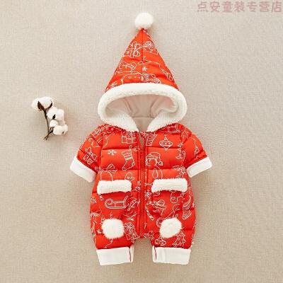 女婴儿外出抱衣冬季加绒加厚宝宝保暖连体衣新生儿圣诞节衣服哈衣 发货周期:一般在付款后2-90天左右发货,具体发货时间请以与客服协商的时间为准