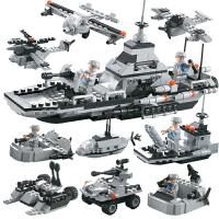 兼容乐高积木玩具军事组装玩具儿童男孩子3拼装玩具6周岁10岁 米白色 黑色+蓝色-袋装