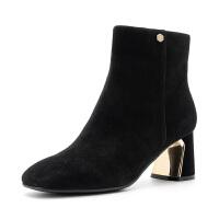 星期六(ST&SAT)冬季专柜同款绒面羊皮革金属跟短靴SS84116098