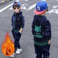2019秋冬季新款儿童中大童加绒连帽两件套洋气韩版男童双面绒套装